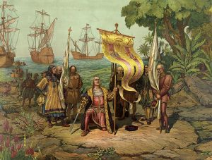 "Columbus claiming the ""new world"""